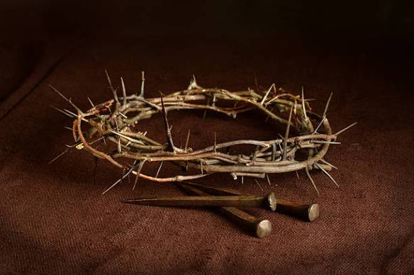 Crown of Thorns and Nails on Cloth